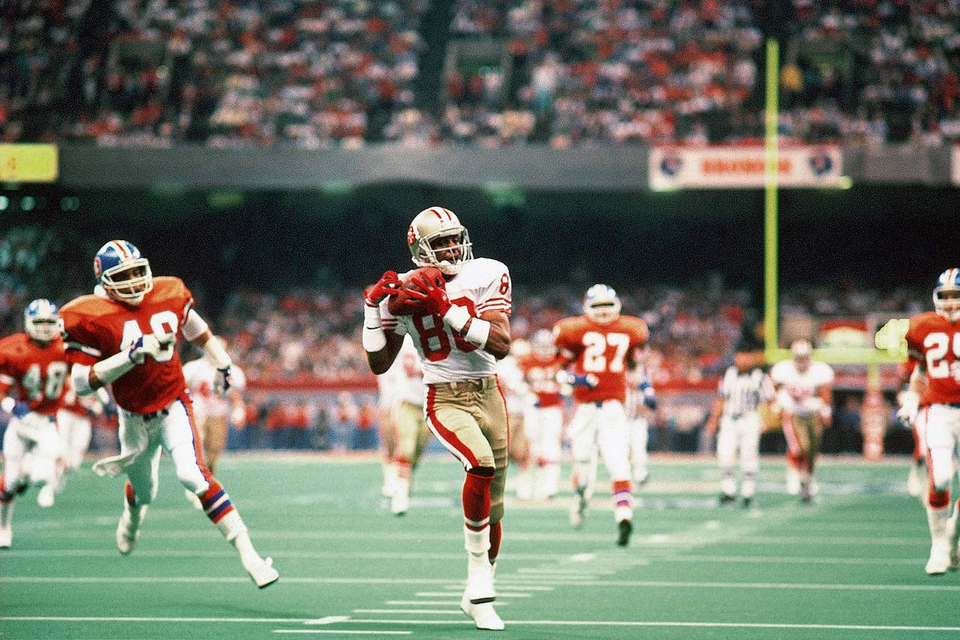If one team epitomized the era of bad Super Bowl games, the Broncos were it. And if one game was the worst of the bunch, this was it. Wide receiver Jerry Rice ran free in Denver's secondary as the 49ers did virtually anything they wanted against Wade Phillips' defense. The game set records for most points scored and largest margin of victory.