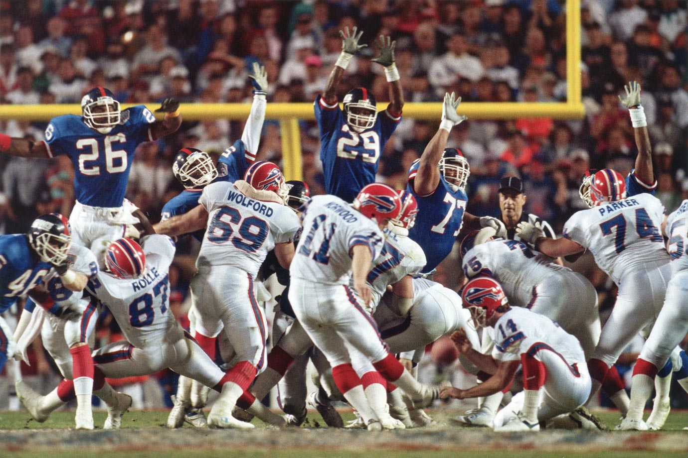 The Bills' first of four straight Super Bowl appearances was their best chance to win one. They were 13-3 and had handled the Giants during the regular season. New York was forced to turn to backup quarterback Jeff Hostetler after Phil Simms was lost to injury for the season. But the Giants masterfully used a ball-control offense to keep Bills quarterback Jim Kelly and running back Thurman Thomas off the field for 40 minutes 33 seconds and led 20-19 in the final seconds. Yet, they still weren't safe. Kelly led one last desperation drive only to watch Scott Norwood's winning field goal attempt of 47 yards sail infamously wide right.