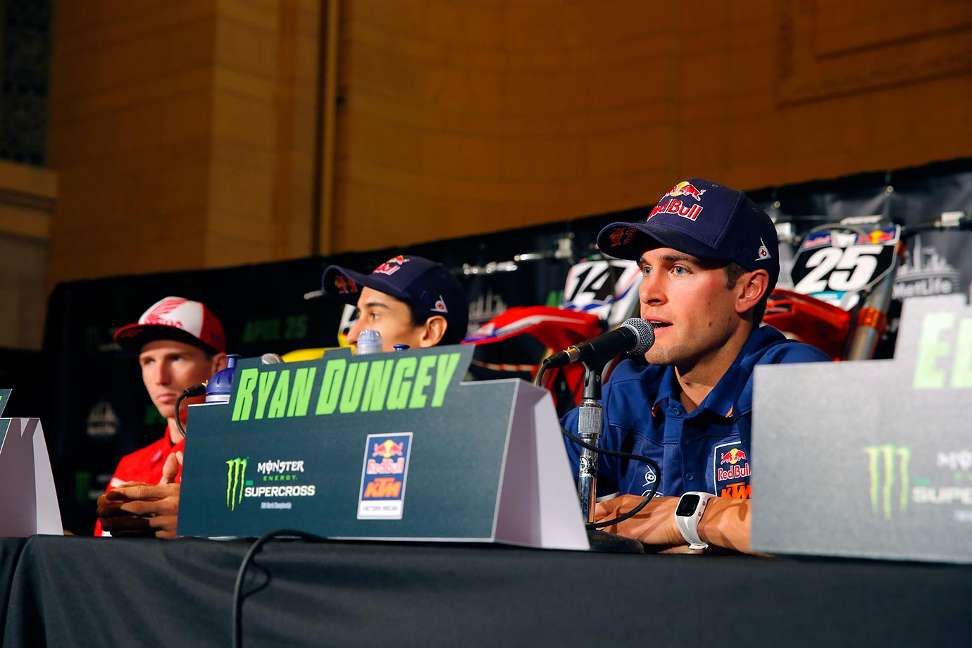 RDungey takes questions at a press conference before Saturday's event.