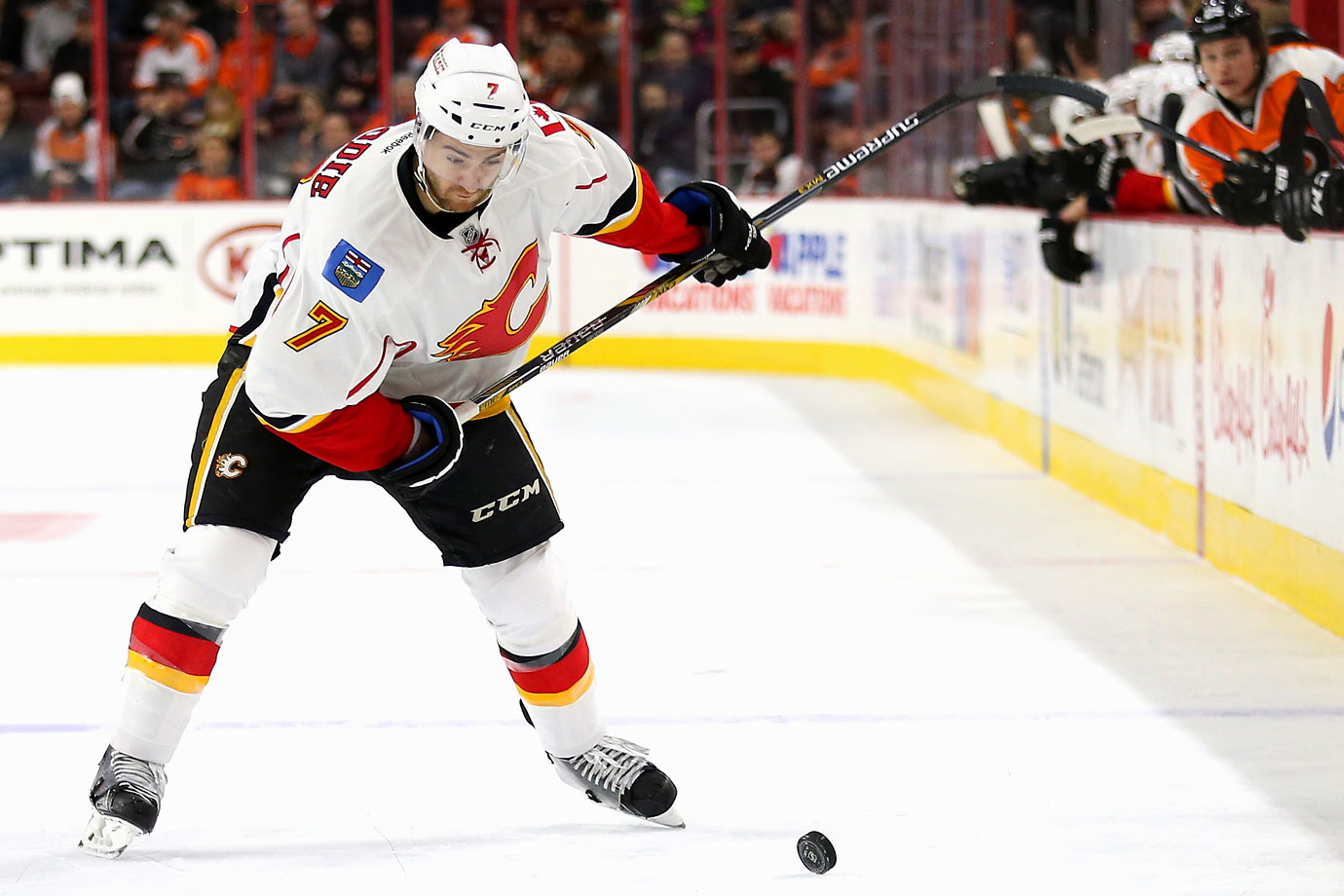 "Playing alongside Mark Giordano—another player who knows something about being under appreciated—Brodie's matured into an outstanding top pairing defender for the Flames at just 24. ""I've rarely seen a young defenseman progress at such a quick pace,"" coach Bob Hartley raved to the Calgary Sun. ""He has so many good details—his positioning, the way that he angles a player, his stick ... his skating."""