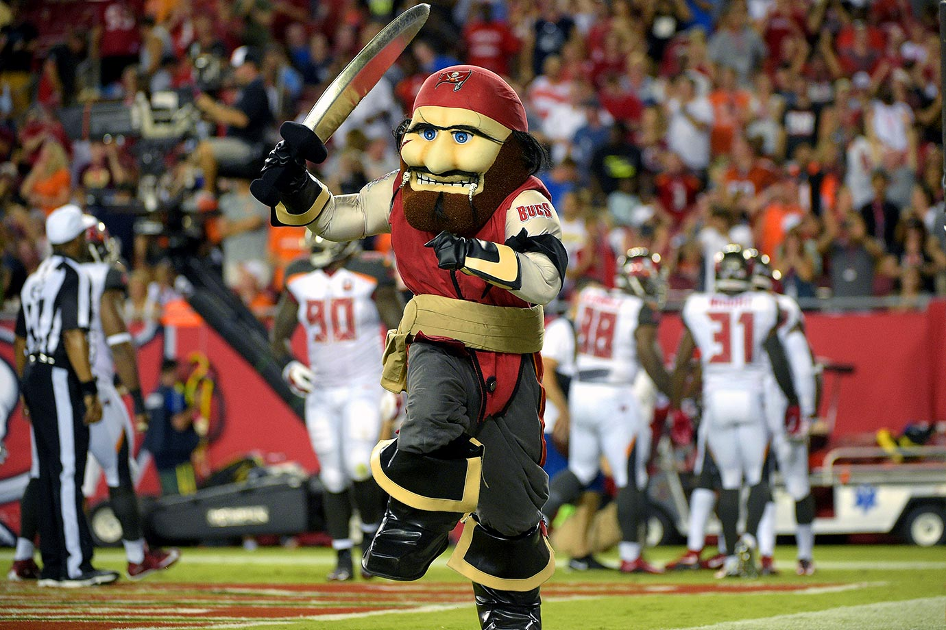 From the winking Bucco Bruce to the constipated Captain Fear, the Buccaneers can't win with their mascot. From the unibrow to the 11 o'clock shadow, this guy looks more like a danger to himself than anyone else.