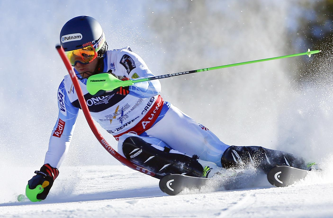 United States' Ted Ligety races during the slalom portion of the Alpine combined competition at the Alpine skiing world championships in Beaver Creek, Colo.