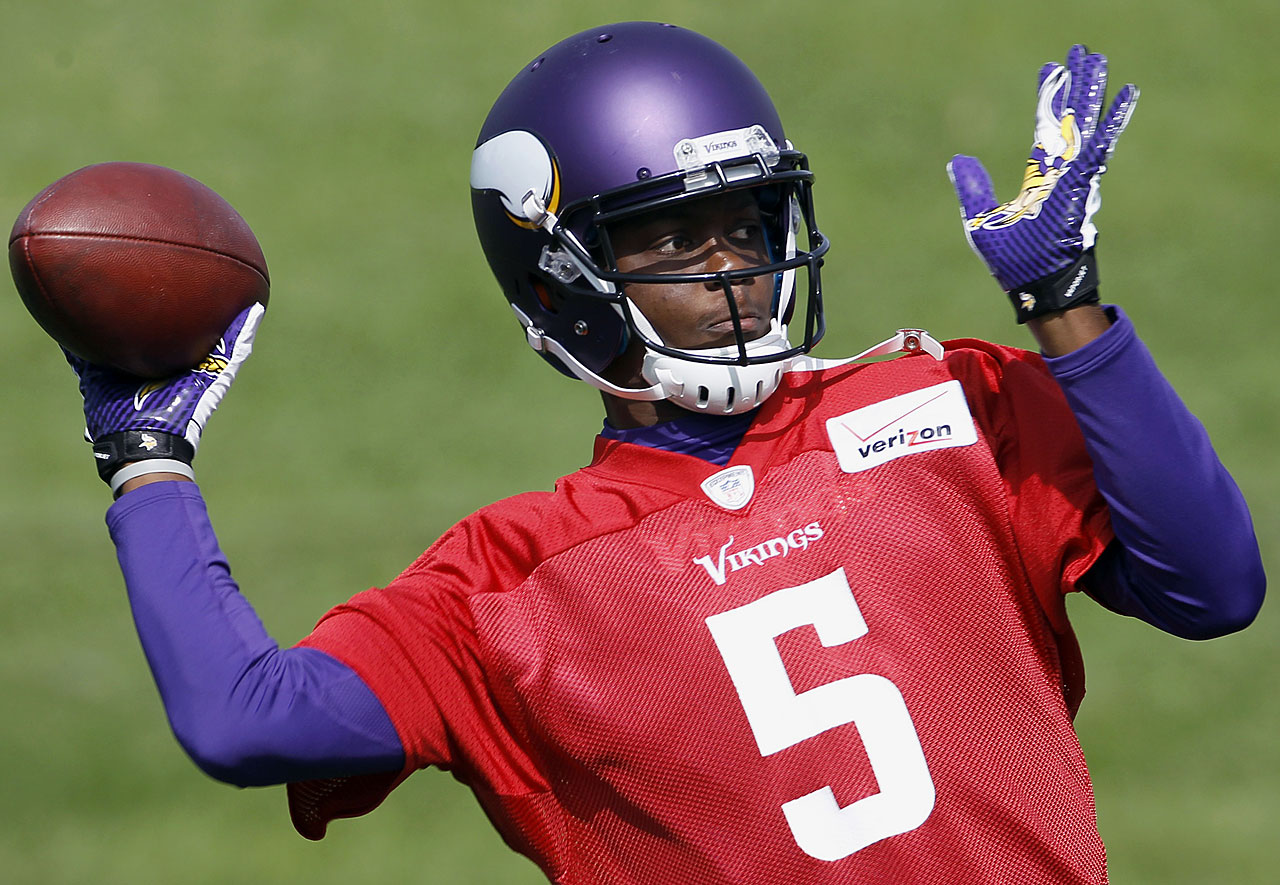 Teddy Bridgewater, the 32nd and final pick of the 1st round, whose offensive coordinator, Norv Turner, recently said should have been a top-10 pick, comes onto a roster without a good player behind center yet with a phenomenal receiving corps, led by Cordarrelle Patterson. Given the skills Bridgewater showed at Louisville and the fearsome ability with which he's taken over games, Vikings fans can't wait to see how he progresses during training camp.