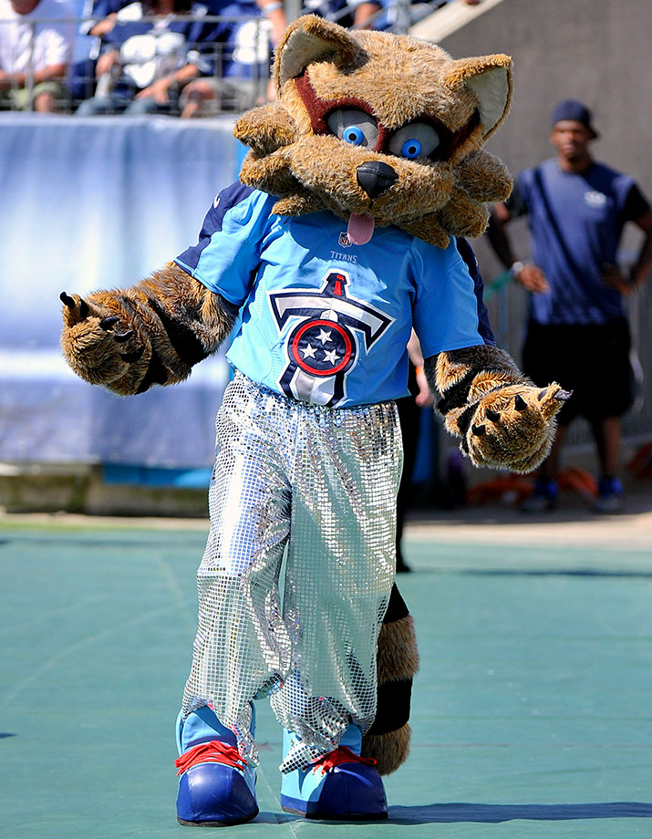 A raccoon mascot really just makes us tighten the lids on our trash cans. The Titans (giant deities of incredible strength, according to Wikipedia) could have gone with Atlas carrying around a huge football on his back instead … A raccoon it is!