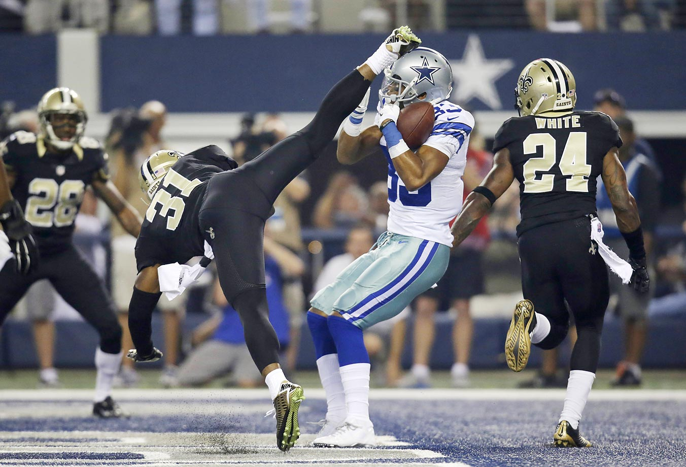 Dallas Cowboys wide receiver Terrance Williams scores a touchdown against the New Orleans Saints.