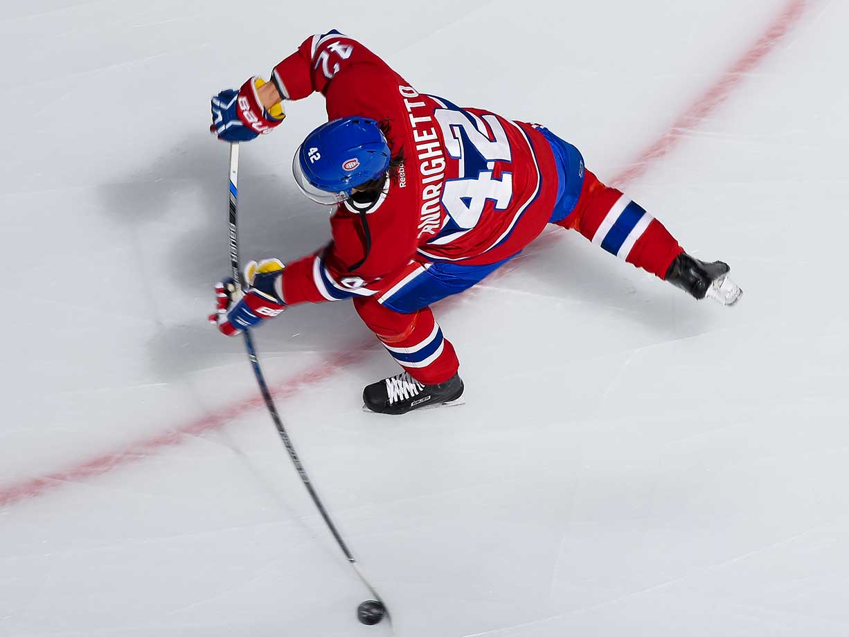 Sven Andrighetto of the Montreal Canadiens warms up prior to the game against the Florida Panthers.