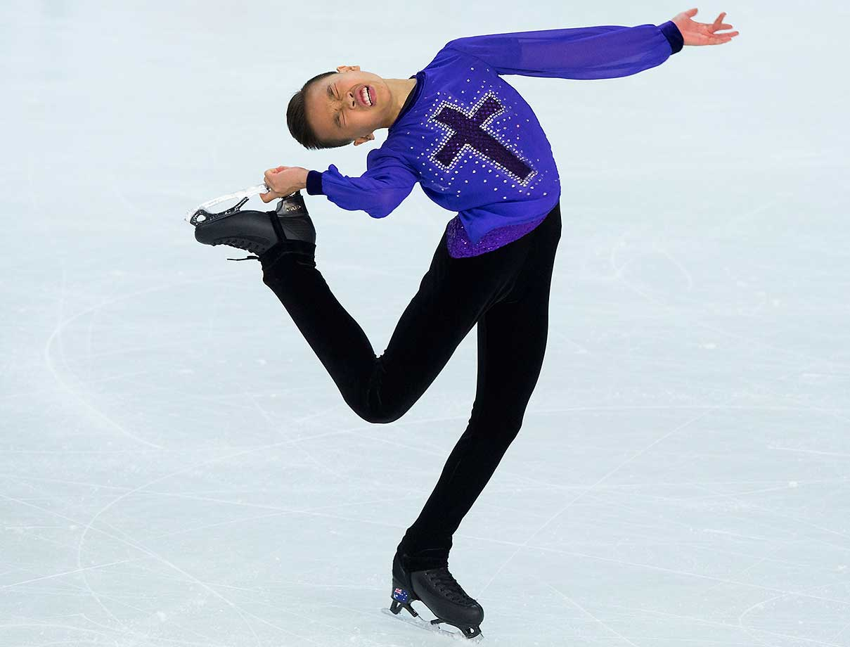 James Min from Australia skates during the short program of the ISU World Junior Figure Skating Championships.