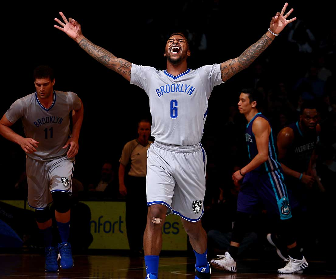 Sean Kilpatrick of the Brooklyn Nets celebrates after a three-point shot against the Charlotte Hornets.