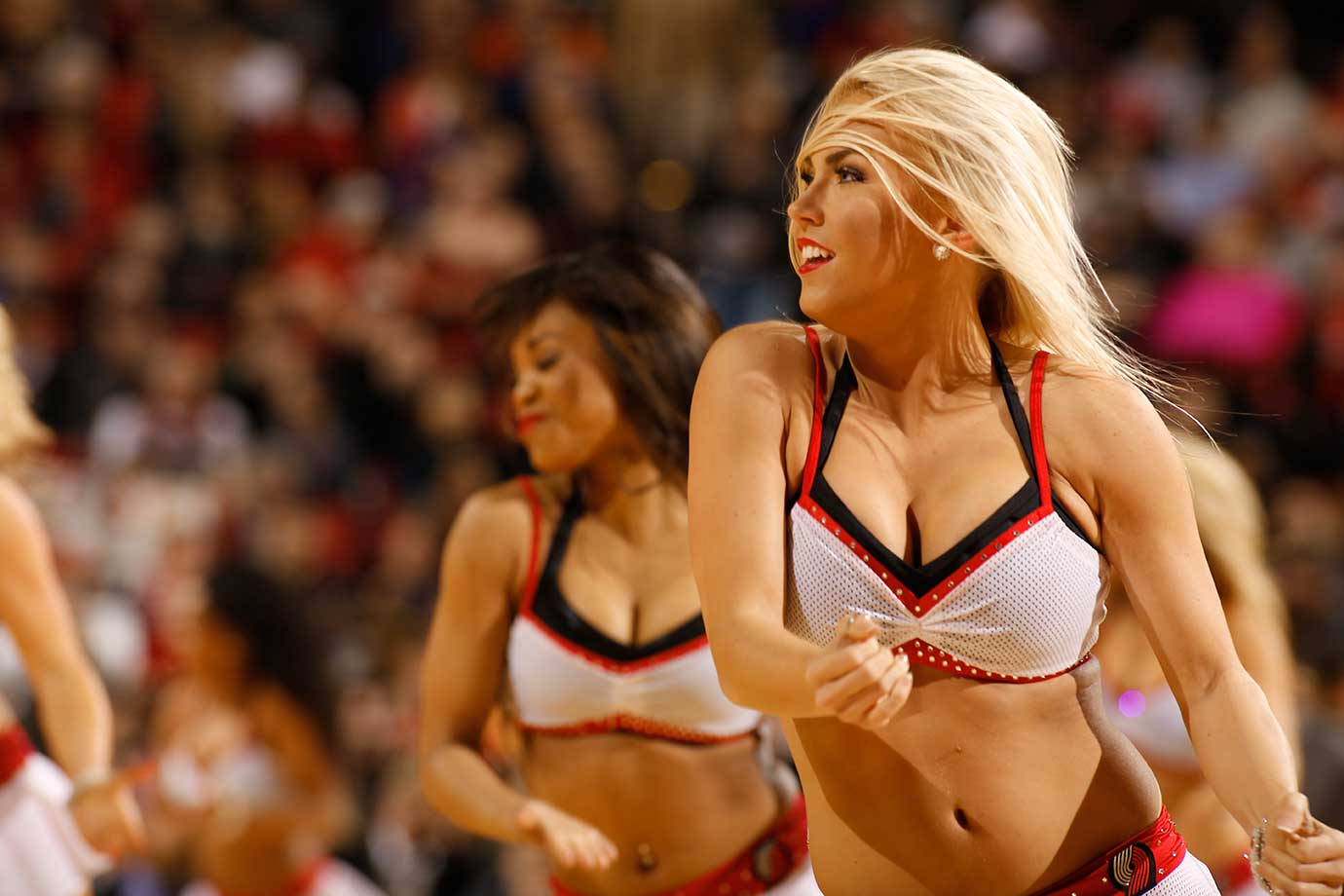 Dancers perform during the game between the Dallas Mavericks and Portland Trail Blazers.