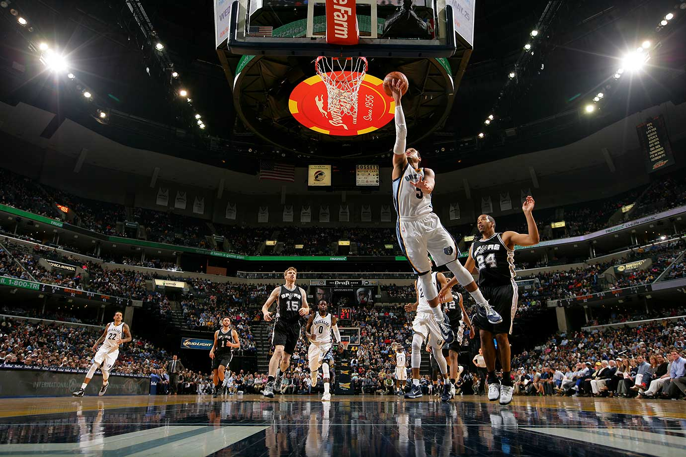 Ray McCallum of Memphis shoots against the San Antonio Spurs.