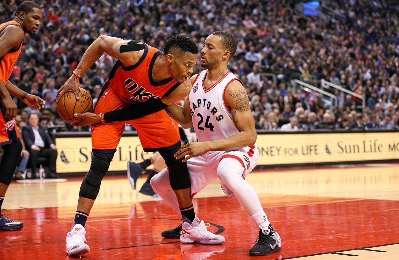 Norman Powell covers Russell Westbrook but couldn't keep him from another triple double.