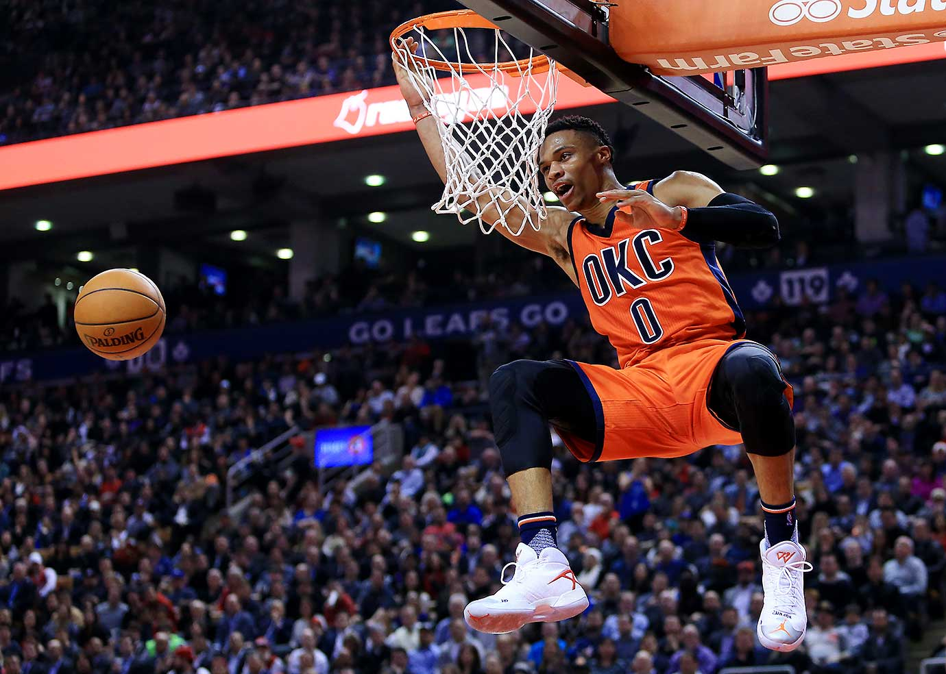 Russell Westbrook turned in his 16th triple-double of the season (26 points, 11 rebounds and 12 assists) to move with one of tying Magic Johnson for the most in a season.