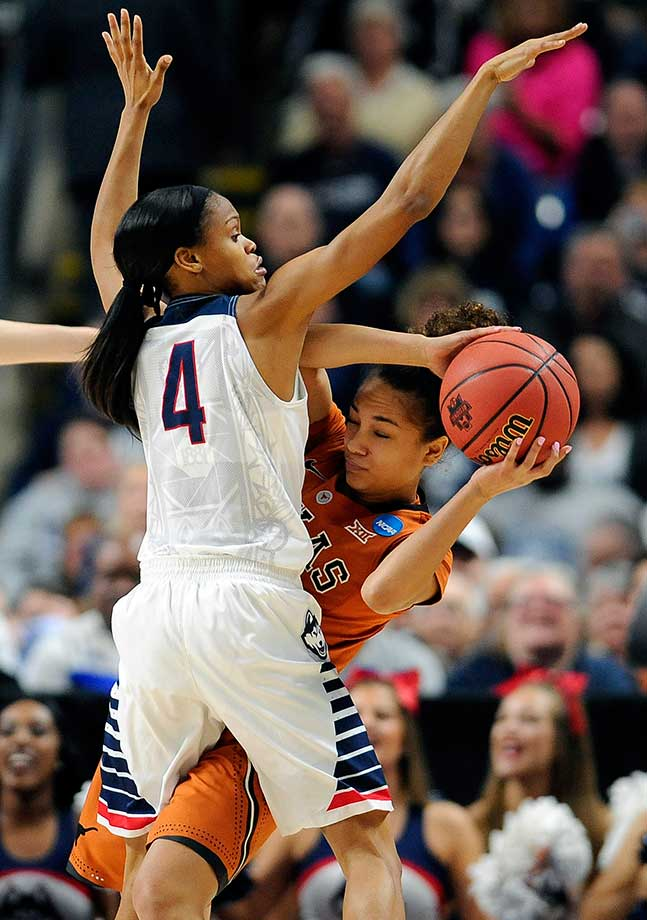 Connecticut's Moriah Jefferson defends against Brooke McCarty of Texas during UConn's 86-65 victory.