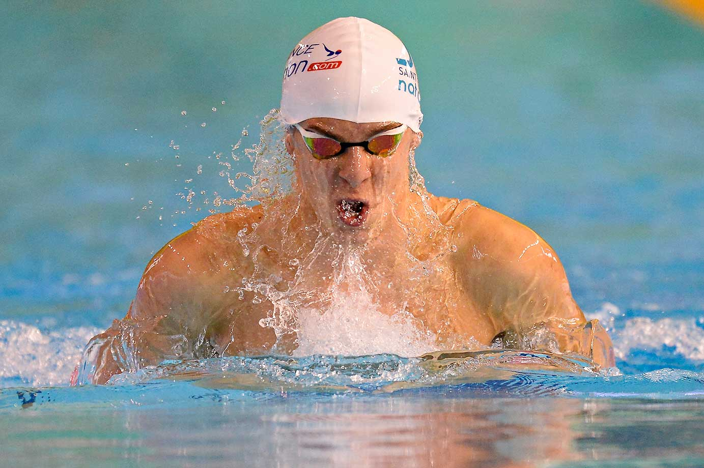 Julien Valour of France in the 200m breaststroke at the French National Swimming Championships.