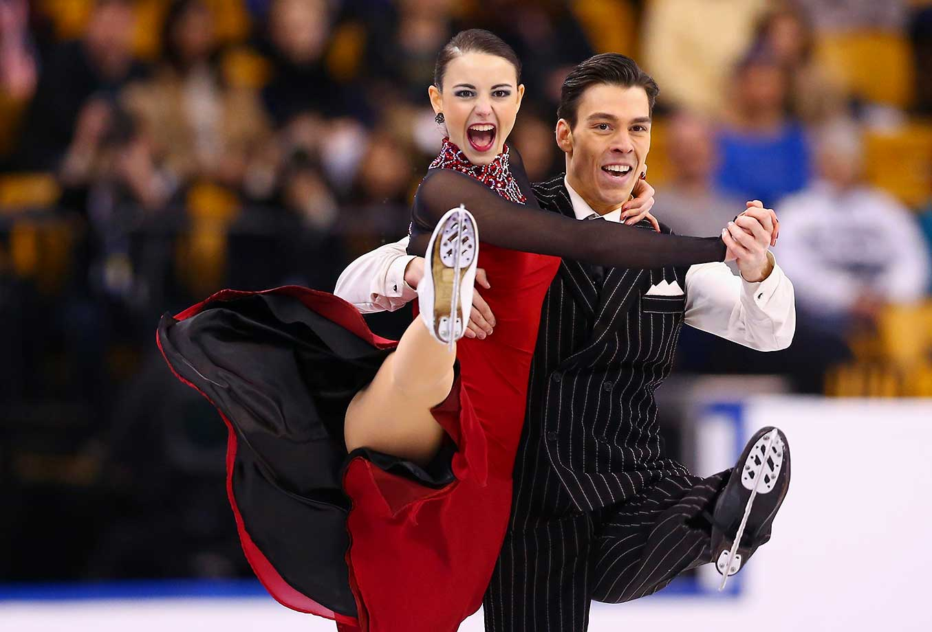 Federica Testa and Lukas Csolley of Slovakia compete during Day 3 of the ISU World Figure Skating Championships.