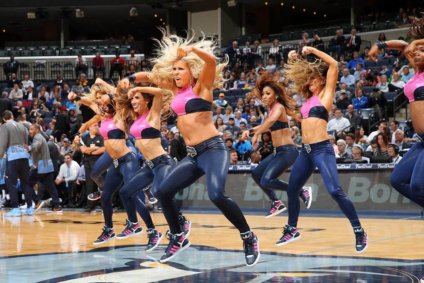 The Memphis Grizzlies dance team performs during the game against the Denver Nuggets.