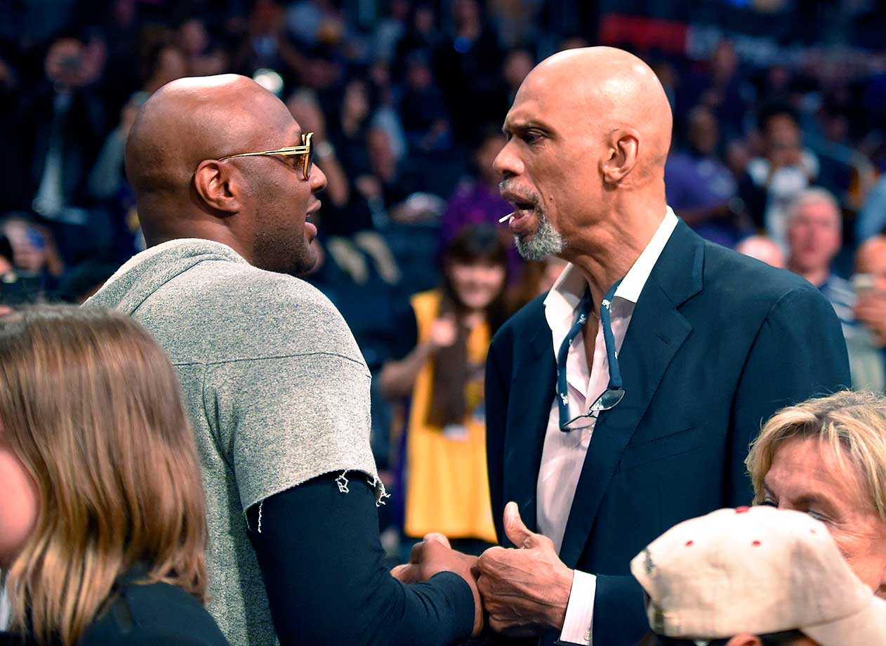 Lamar Odom attended the Lakers-Heat game Wednesday night at the urging of Kobe Bryant and Dwyane Wade. While there, he spoke with Kareem Abdul-Jabbar.