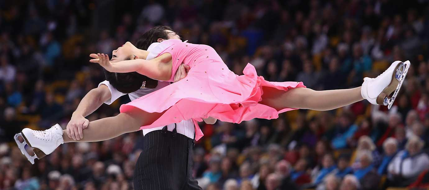Kana Muramoto and Chris Reed of Japan compete in the Free Dance Program.