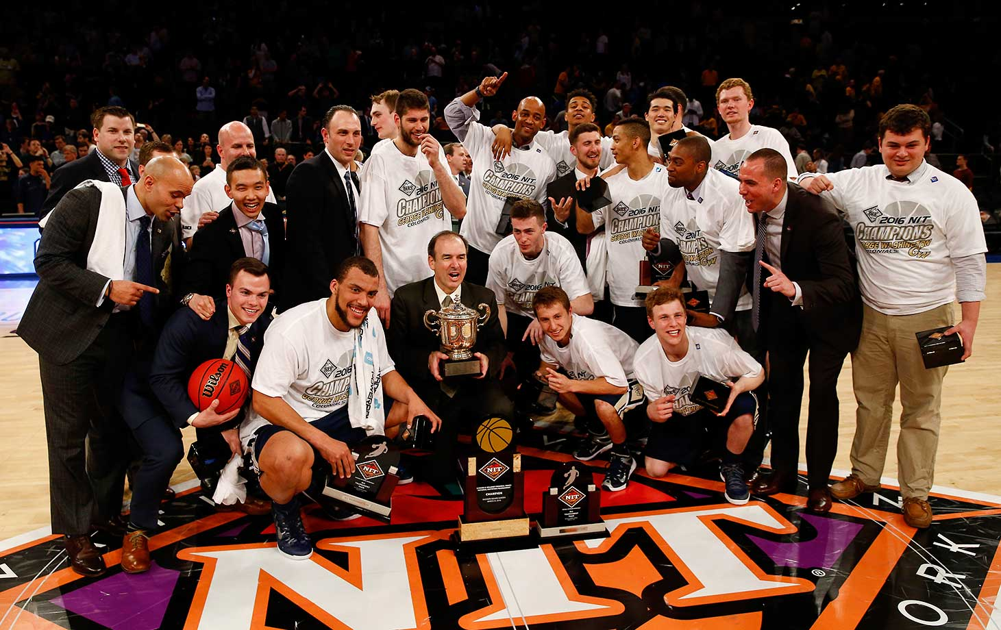 The happy George Washington Colonials after their victory over the Valparaiso Crusaders in the NIT Championship game at Madison Square Garden.