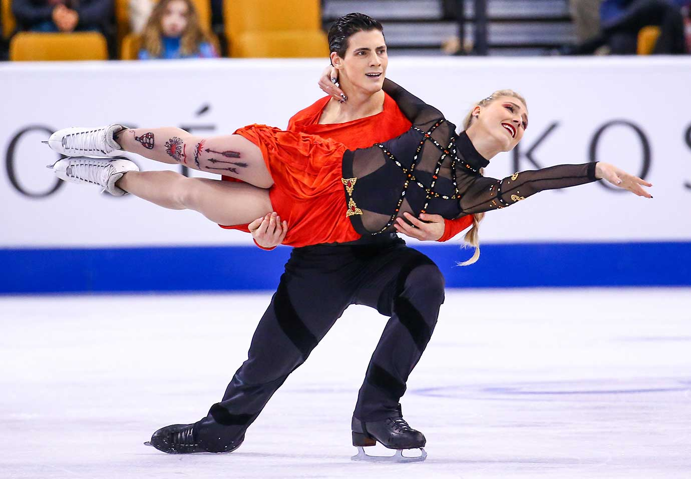 Piper Gilles and Paul Poirier of Canada compete during Day 4 of the World Figure Skating Championships.