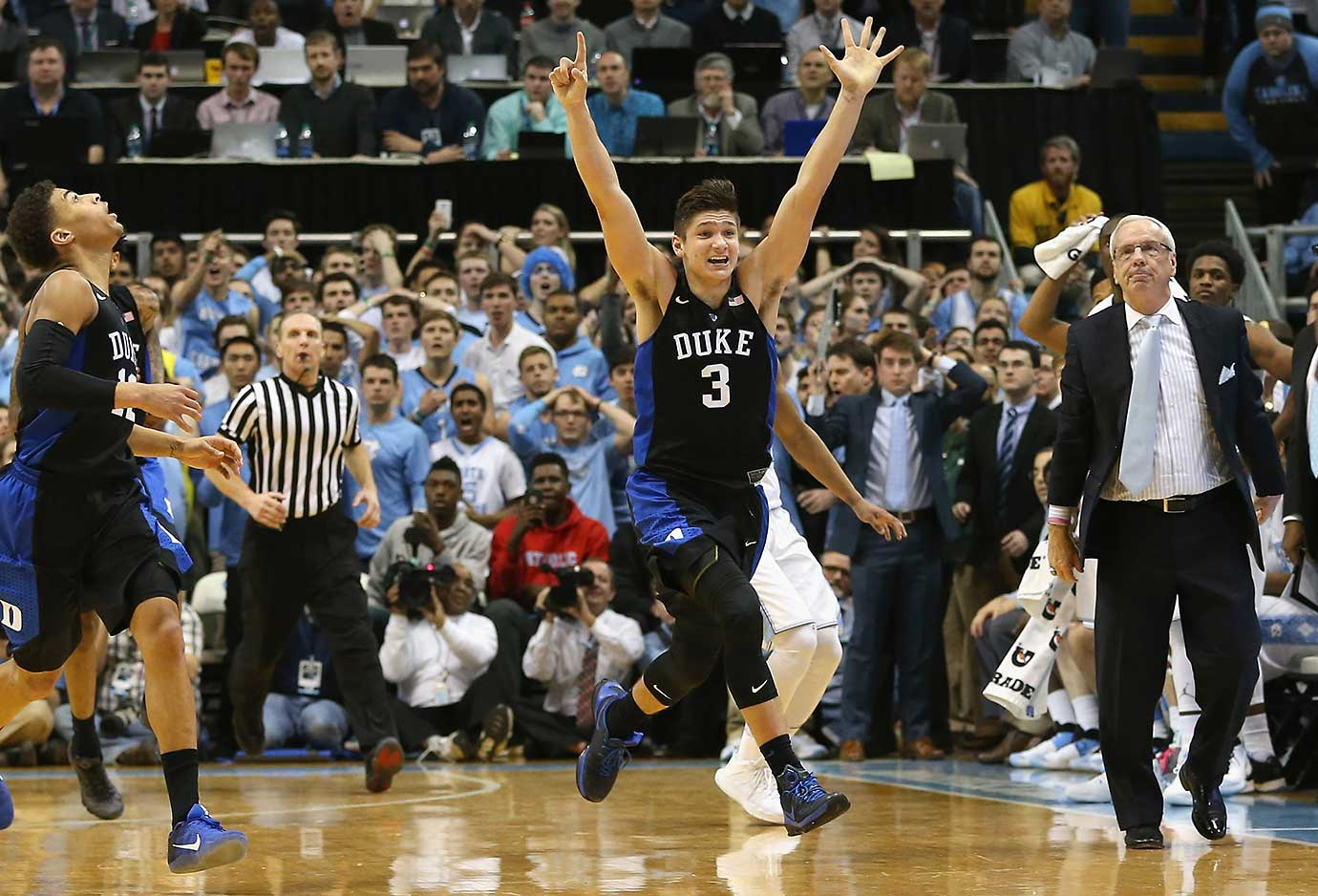 Here are some of the images that caught our eye on the sports night of Feb. 17, beginning with Grayson Allen celebrating and North Carolina coach Roy Williams lamenting the Blue Devils' shocking win over the No. 5 Tar Heels.