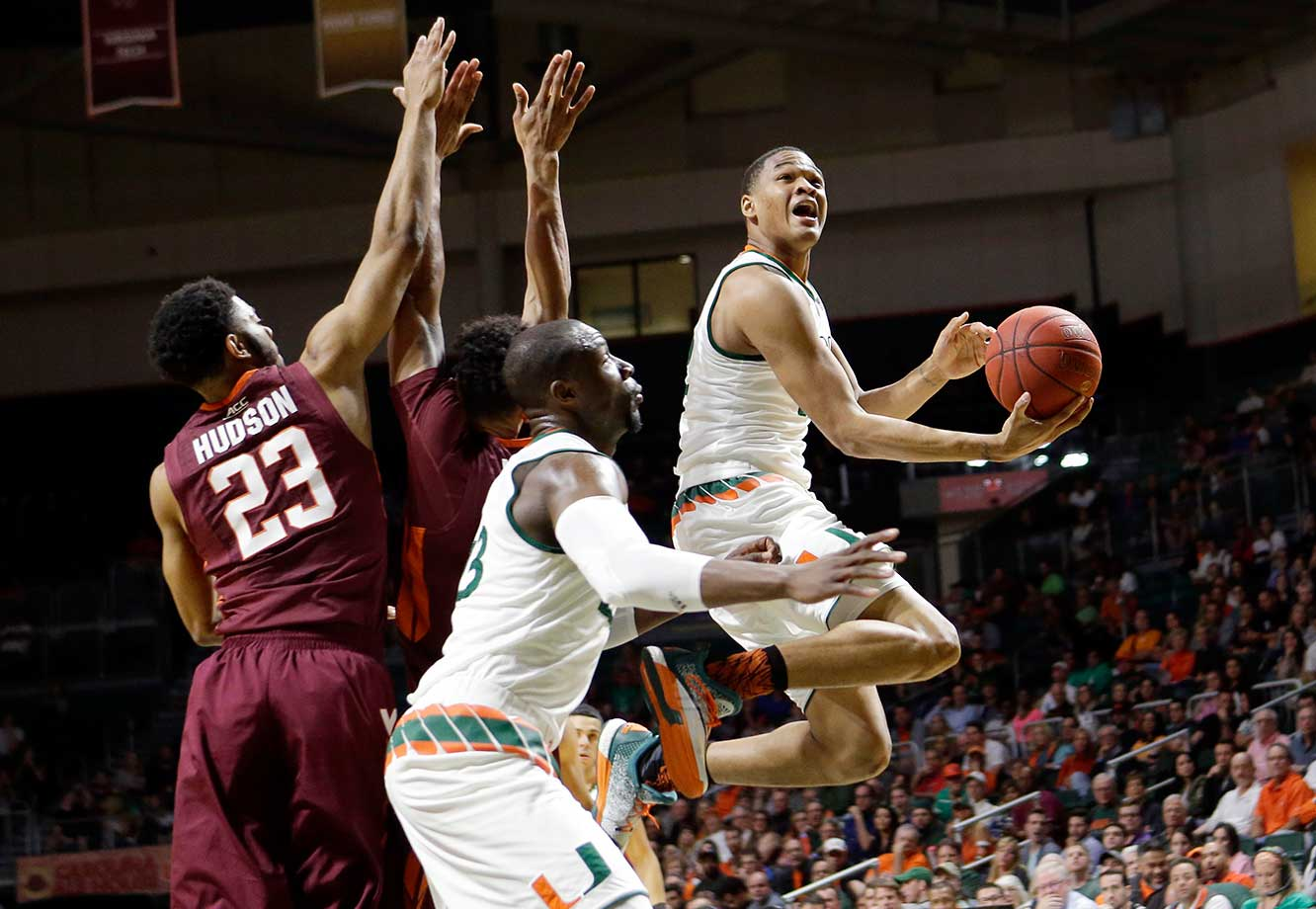 Miami guard James Palmer goes to the basket against Virginia Tech.