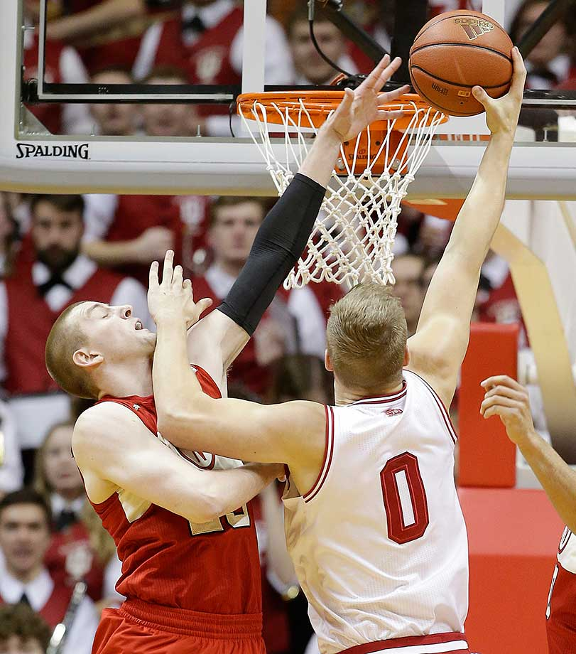 Indiana's Max Bielfeldt goes up for a dunk against Nebraska's Nick Fuller.
