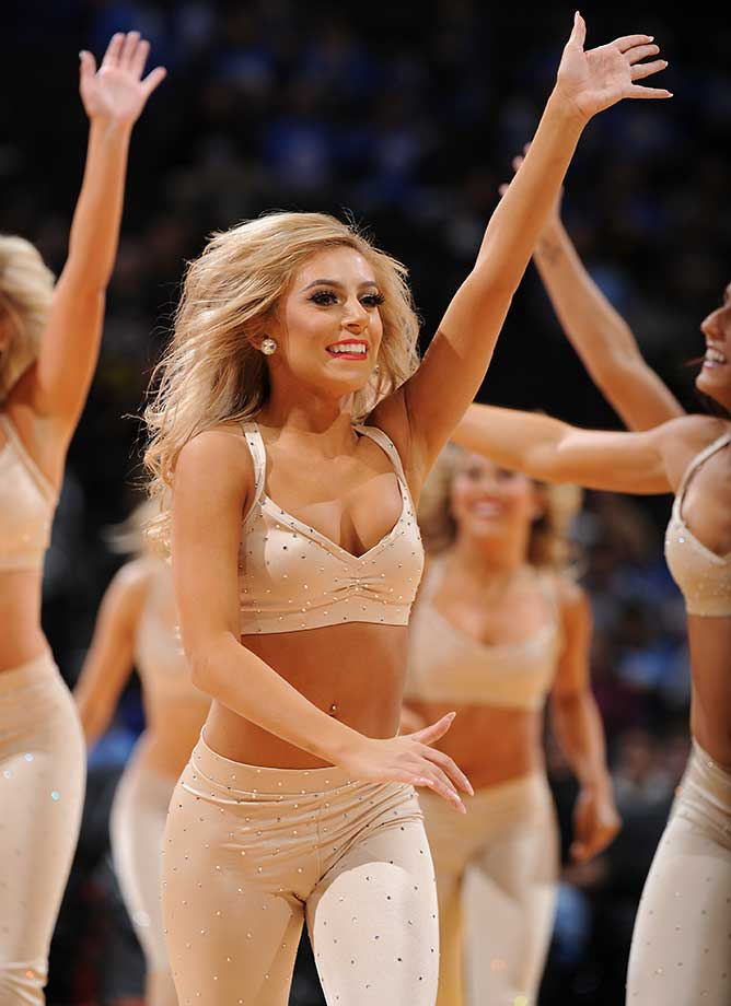 The Denver Nuggets dance team is seen during the game against the Phoenix Suns.