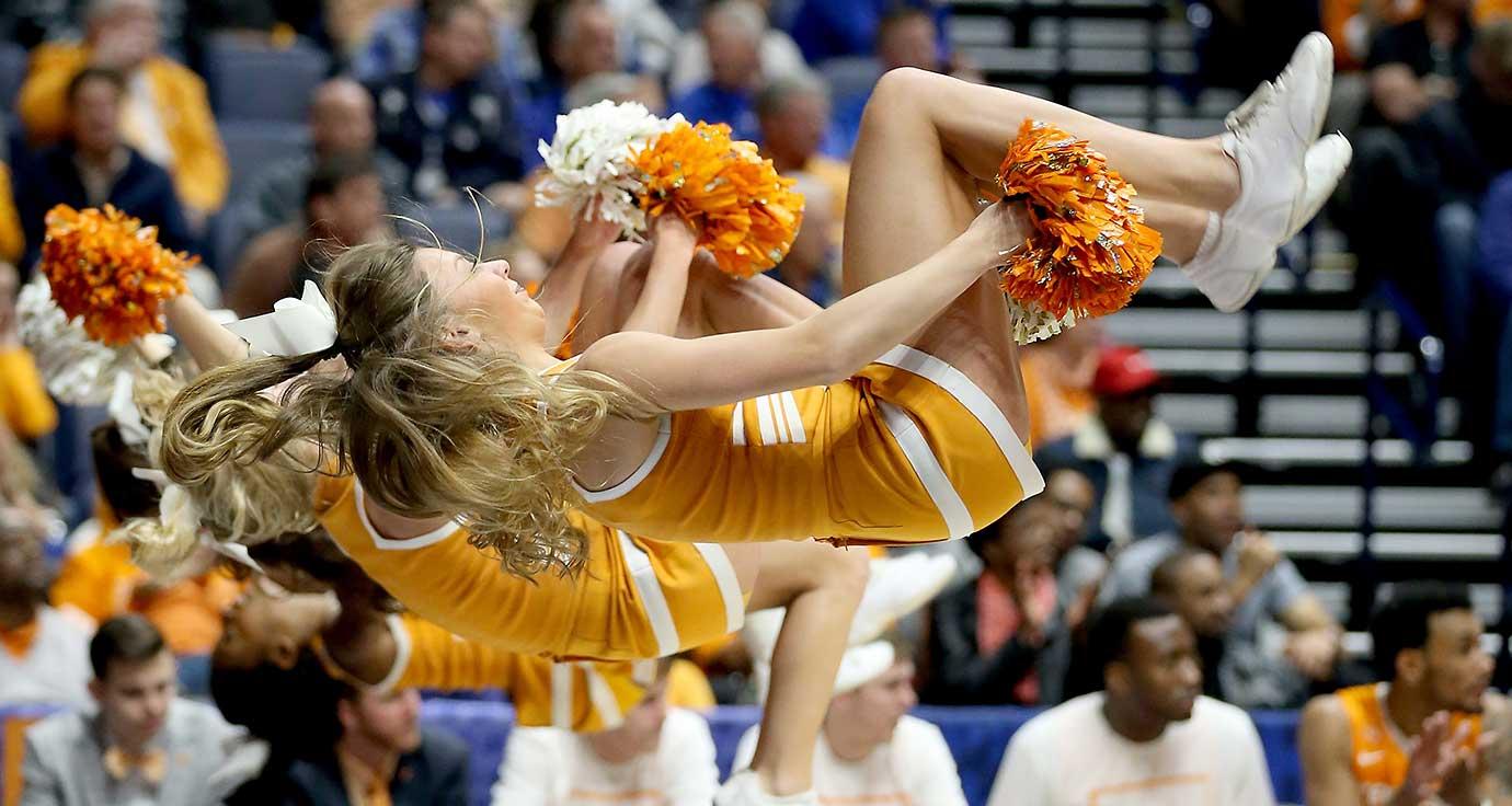 The Tennessee Volunteers cheerleaders perform during the game against LSU.