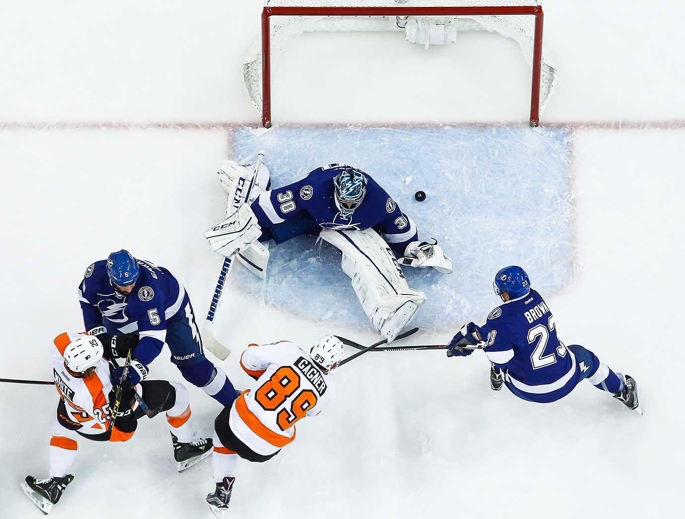 Sam Gagner of the Philadelphia Flyers scores against goalie Ben Bishop of the Tampa Bay Lightning.