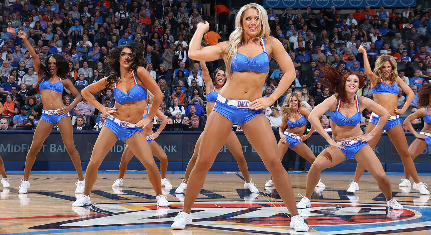 The Oklahoma City Thunder dance team is seen during the game against the Minnesota Timberwolves.