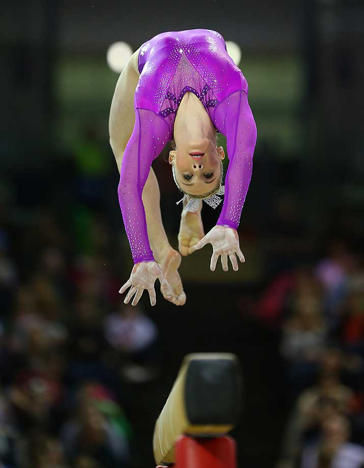 Mykayla Skinner of the U.S. on the Beam during the Artistic World Cup in Glasgow, Scotland.