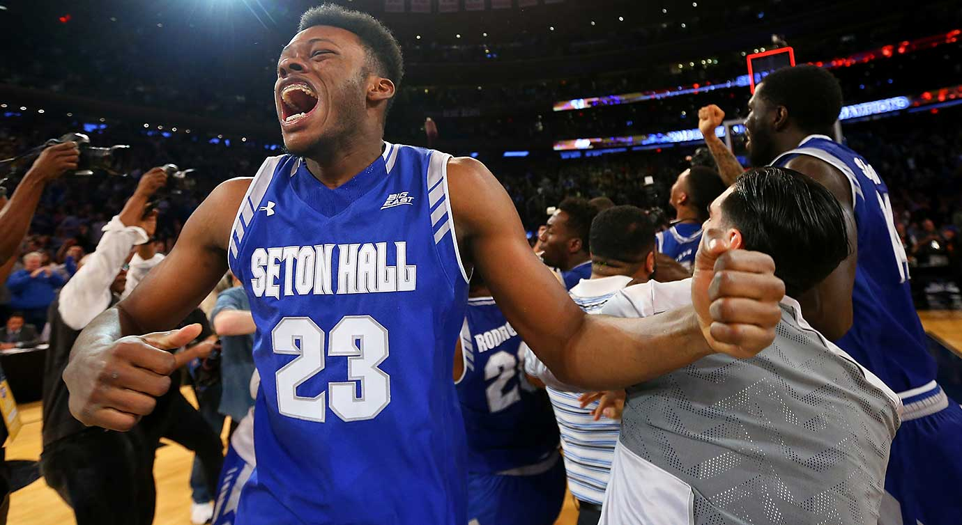 Here are some of the images that caught our eye on a Conference Championship Saturday in sports, beginning with Myles Carter of Seton Hall celebrating a Big East title after the Pirates knocked off Villanova.