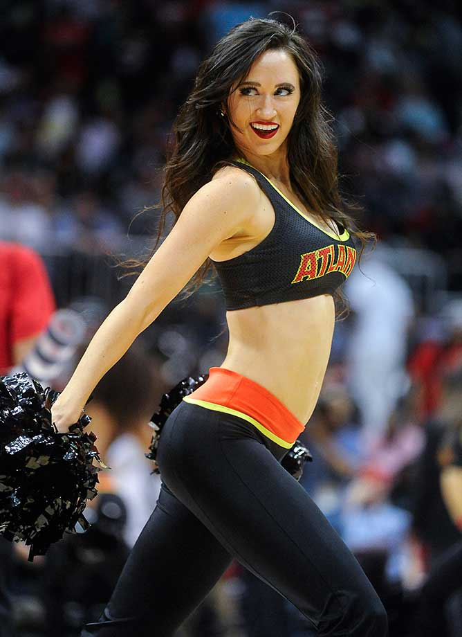 An Atlanta Hawks cheerleader performs during a game against the Memphis Grizzlies.