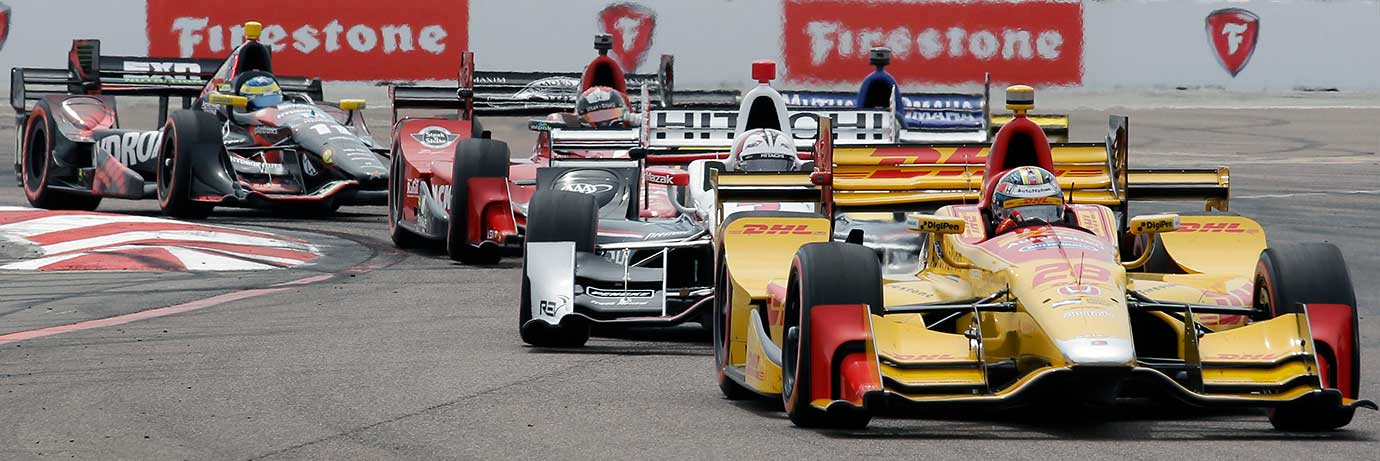 Ryan Hunter-Reay drives through Turn 1 during the IndyCar Firestone Grand Prix of St. Petersburg.