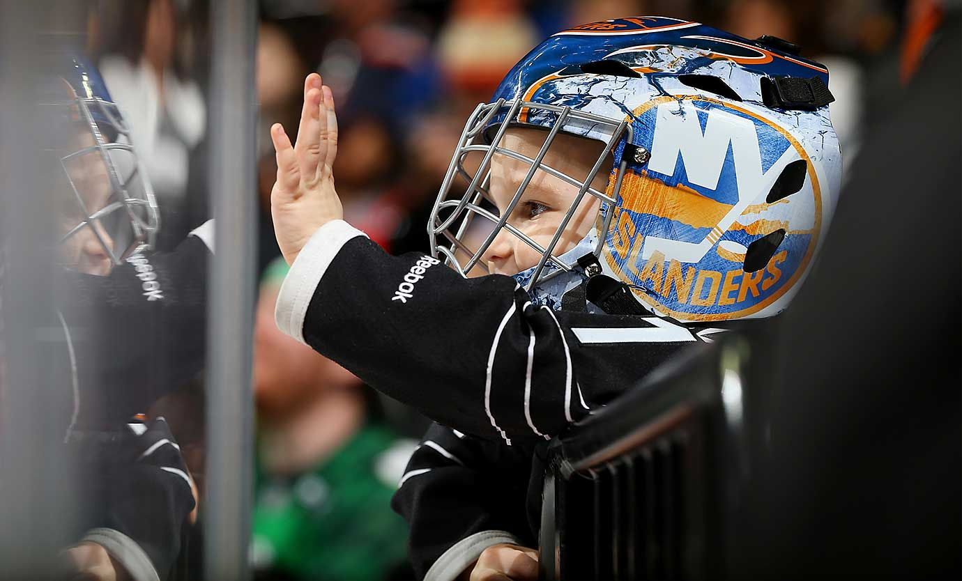 A young fan looks on during the game between the New York Islanders and the Florida Panthers in Brooklyn.
