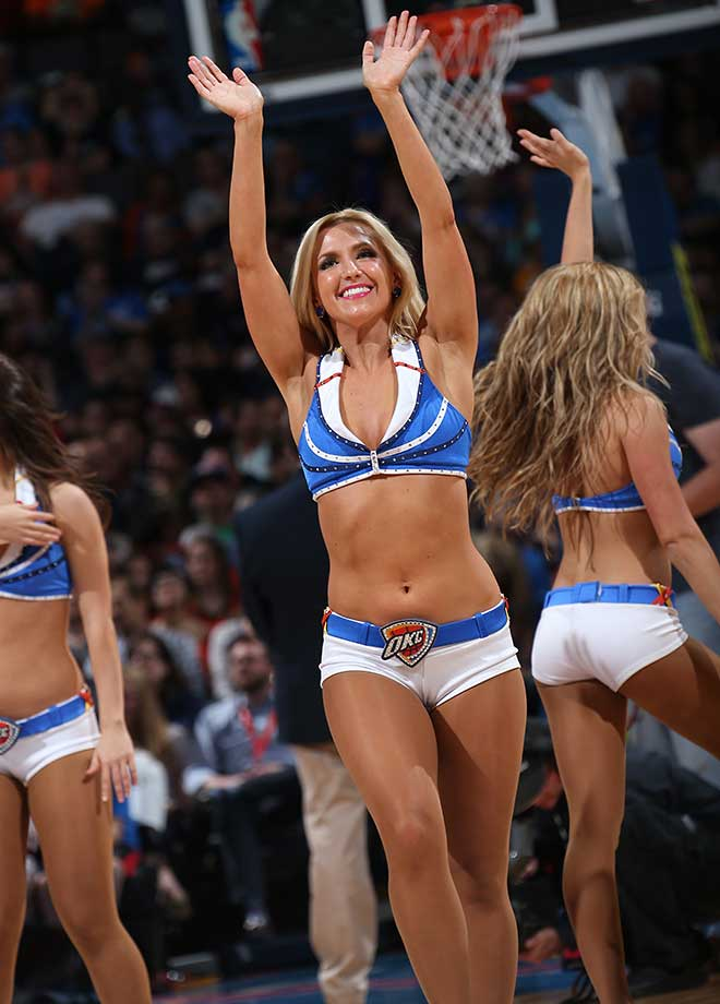 The Oklahoma City Thunder dance team is seen during the game against the Portland Trail Blazers.