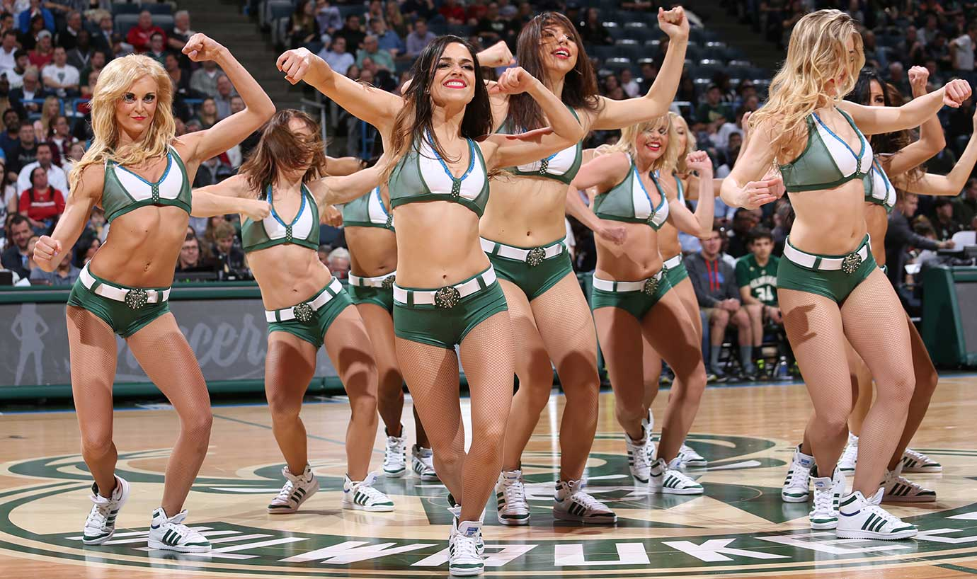 The Milwaukee Bucks dancers perform during the game against the Miami Heat.