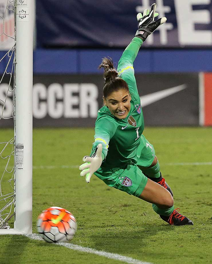 Hope Solo of the United States makes a save during a match against Germany.