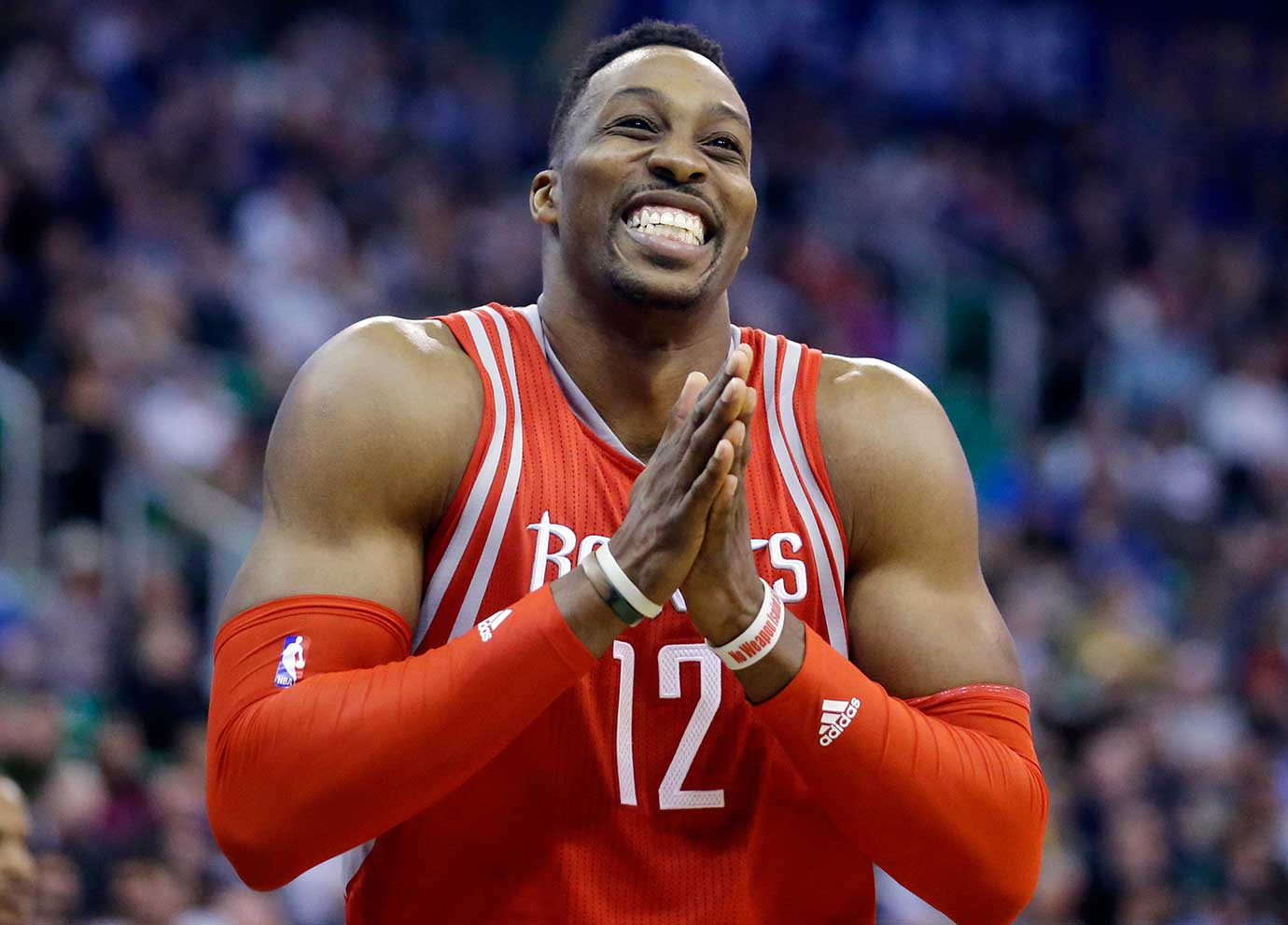 Houston center Dwight Howard during a game at Utah. The Jazz wiped the smile off his face with a 117-114 overtime win.