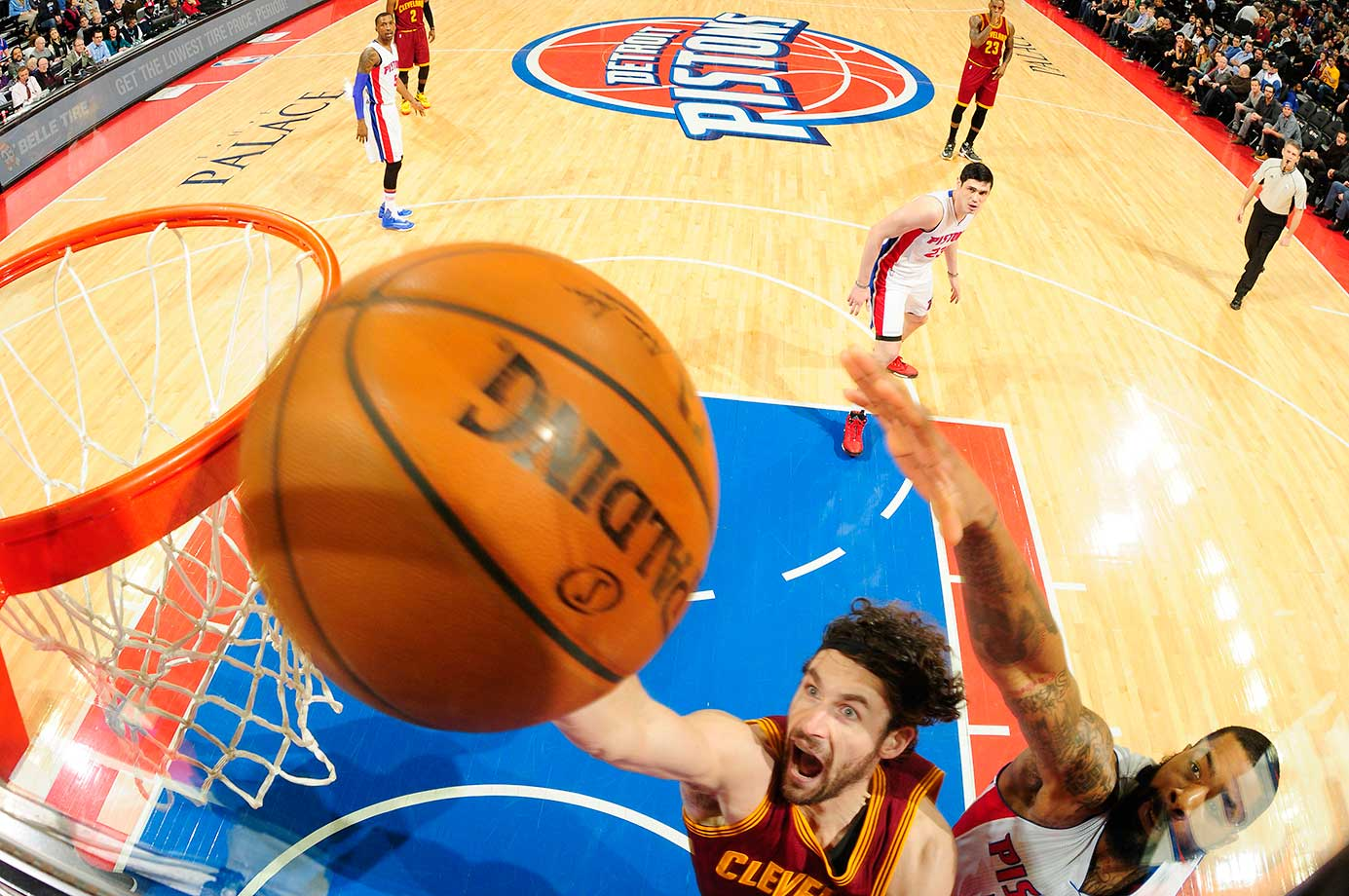 Kevin Love of the Cleveland Cavaliers goes for the layup against the Detroit Pistons at The Palace of Auburn Hills in Auburn Hills, Mich.