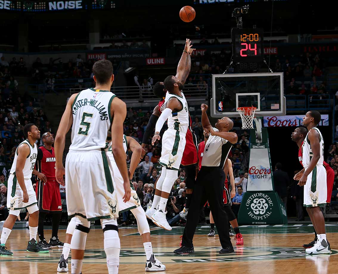 The opening tip between the Miami Heat and Milwaukee Bucks at the BMO Harris Bradley Center in Milwaukee.