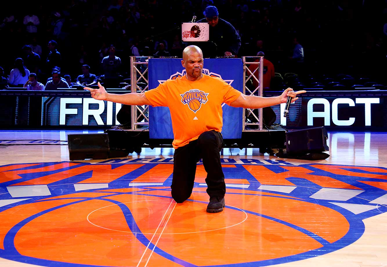 Darryl McDaniels of Run-D.M.C. performs during halftime of the game between the New York Knicks and the Phoenix Suns.