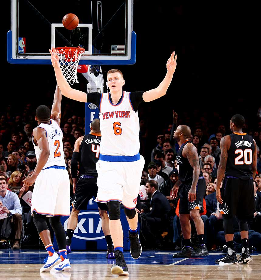 Kristaps Porzingis of the New York Knicks celebrates during the game against the Phoenix Suns at Madison Square Garden in New York City.