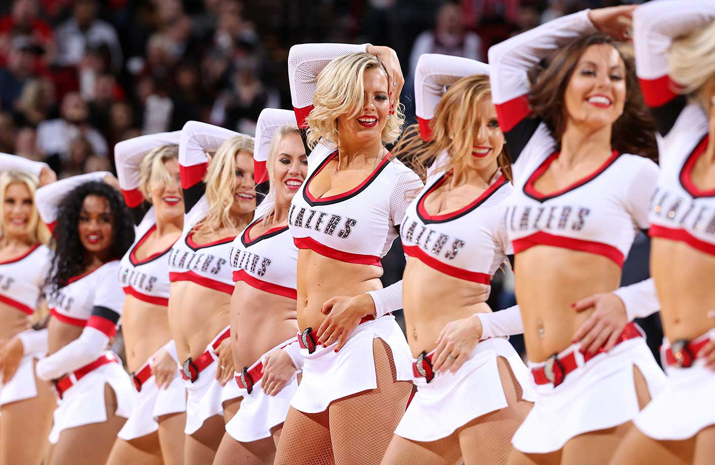 The Portland Trail Blazers dancers perform during the game against the Charlotte Hornets at Moda Center in Portland.