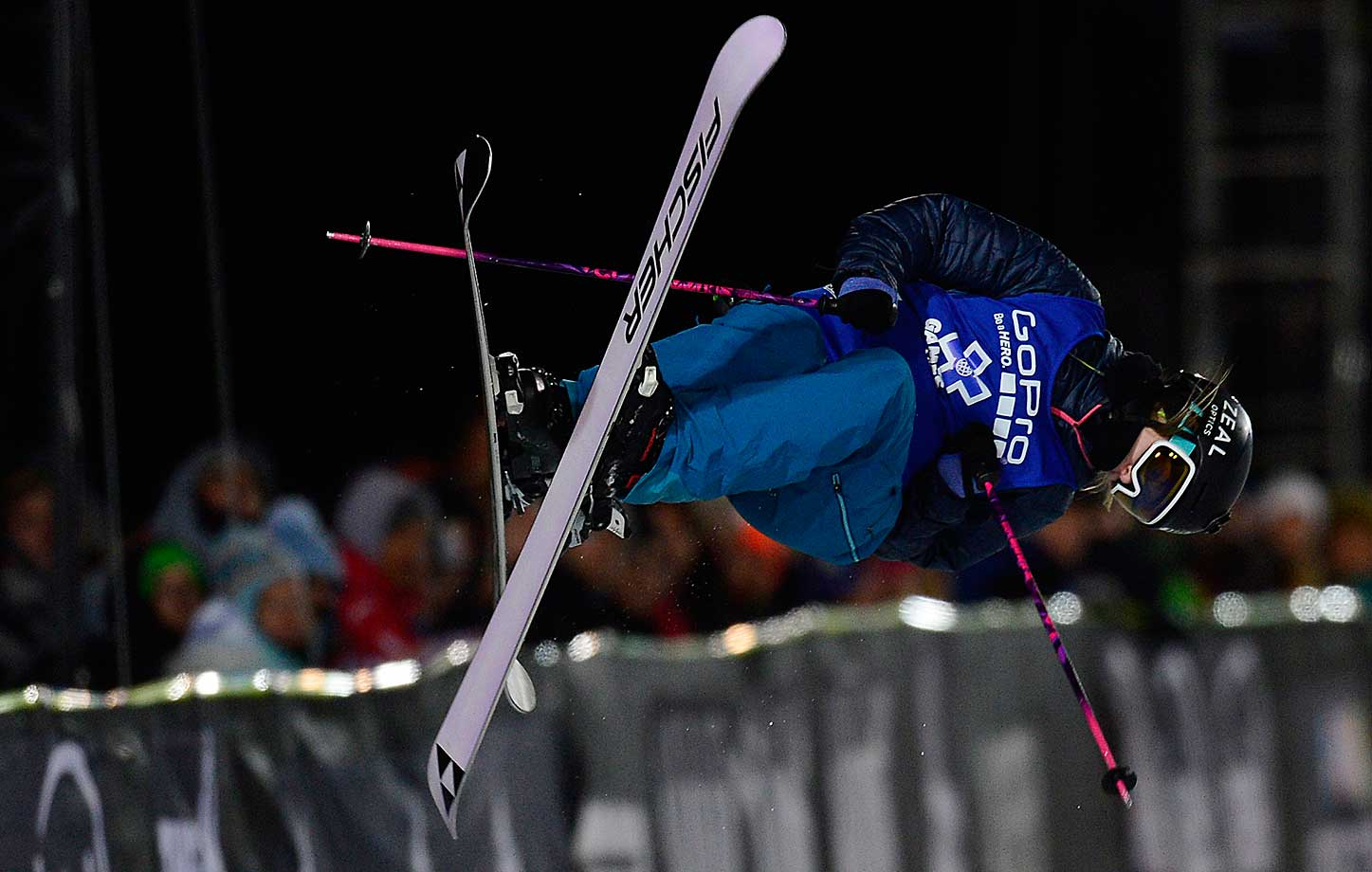 Annalisa Drew rotates in the air in her first run during the finals of women's ski half pipe at Winter X Games 2016. Maddie Bowman won her fourth consecutive gold medal with a score of 85.33.