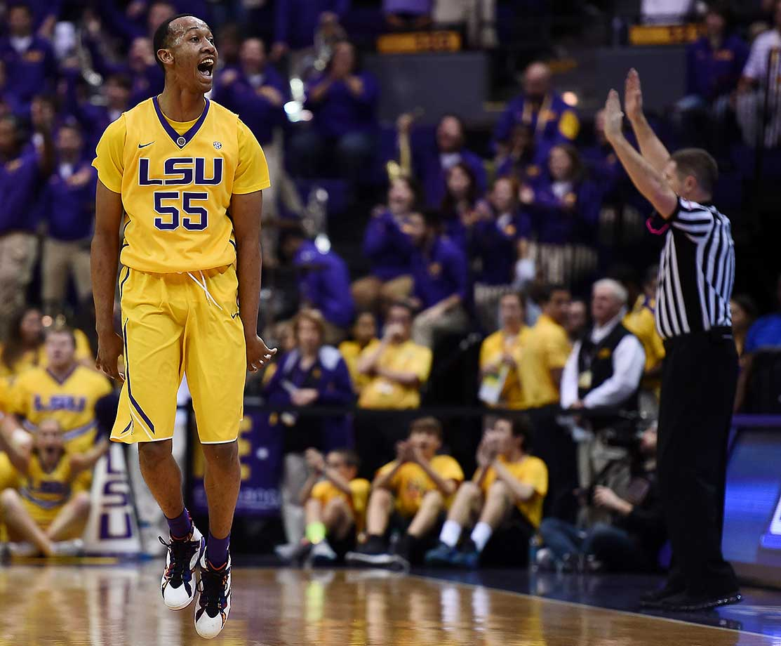 Tim Quarterman of the LSU Tigers reacts to a three-point shot against the Oklahoma Sooners at the Pete Maravich Assembly Center in Baton Rouge, La.