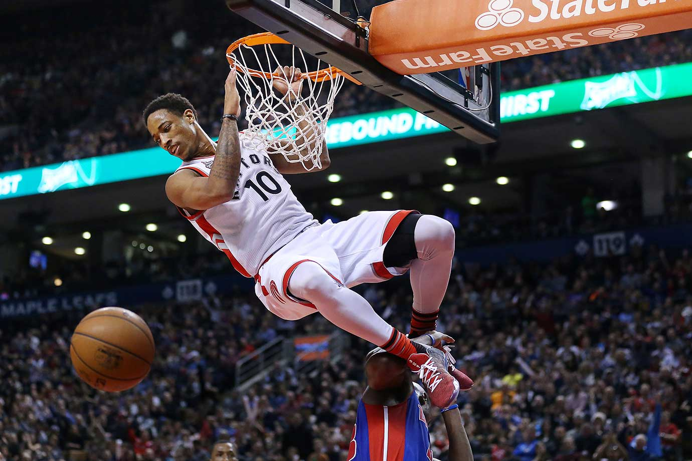 DeMar DeRozan waits until it is safe to come down after a dunk at the Air Canada Centre in Toronto.