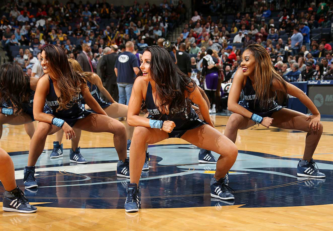 The Memphis Grizzlies dance team performs during the game against the Sacramento Kings.