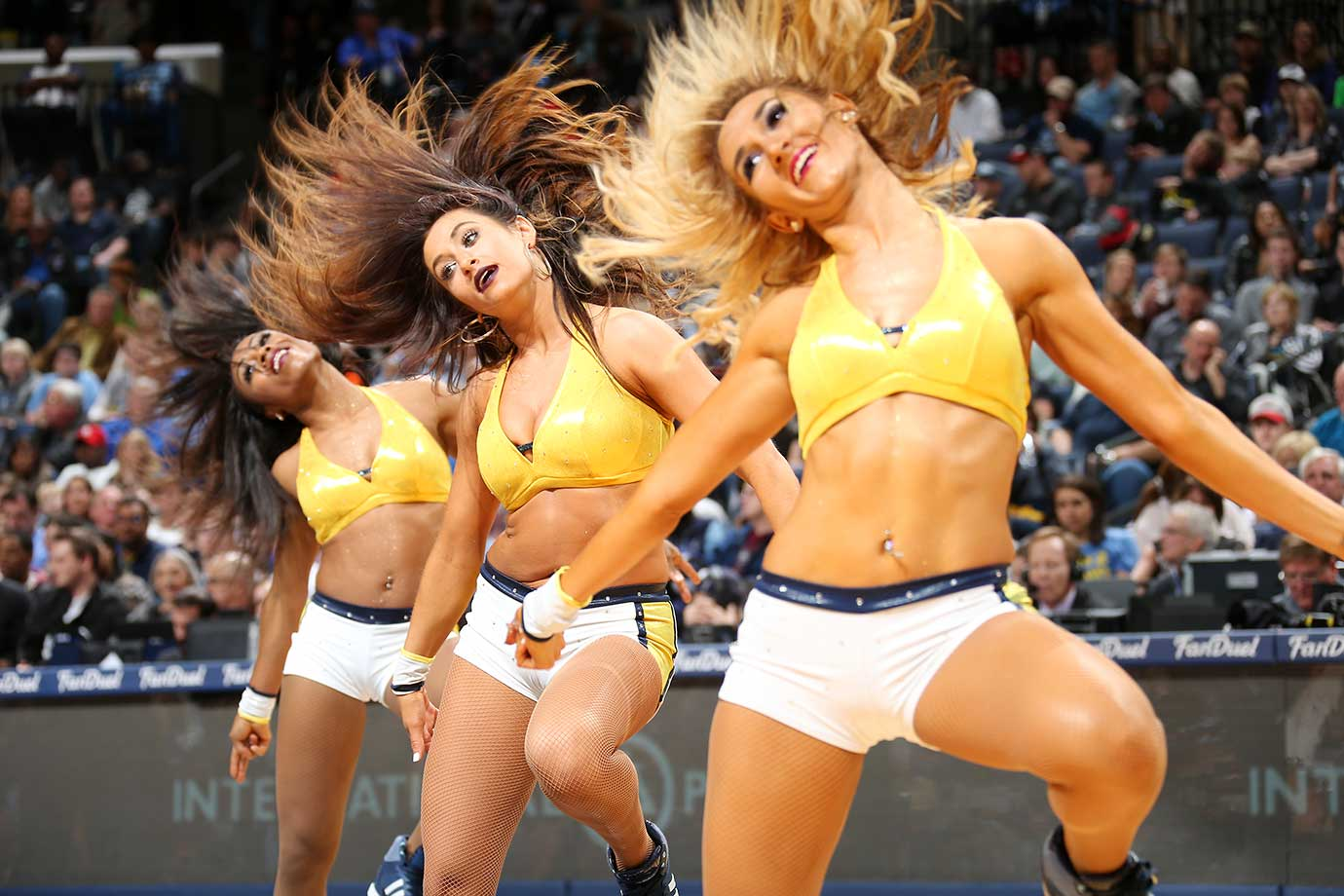 The Memphis Grizzlies dance team performs during the game against the Sacramento Kings in Tennessee.